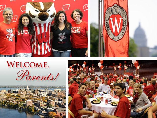 A collage of photos depicting Madison, the UW–Madison campus, and events from former Parents' Weekends.