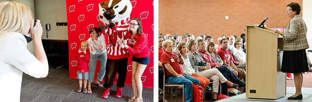 Two photos – families pose with Bucky, and Chancellor Blank speaking to a room of parents.