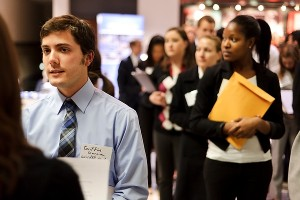 UW–Madison students and alumni aspire to stand out from the crowd, share resumes and talk with recruiters from employers participating in the Spring Career and Internship Fair, held at the Kohl Center.