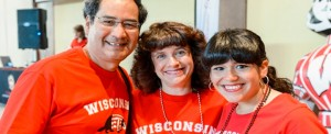 A family celebrates Parents' Weekend.