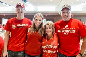 Photo of a Badger family at Union South Parents' Weekend football tailgate party.