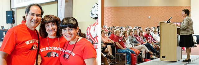 Photo collage of a student with her parents and Chancellor Blank addressing a group of parents during Parents' Weekend.