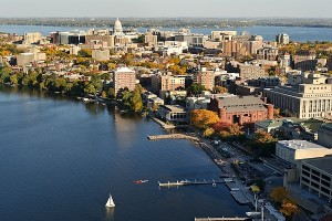 An aerial view of UW–Madison.