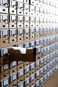 Photo of rows of card catalogue drawers at Memorial Library.