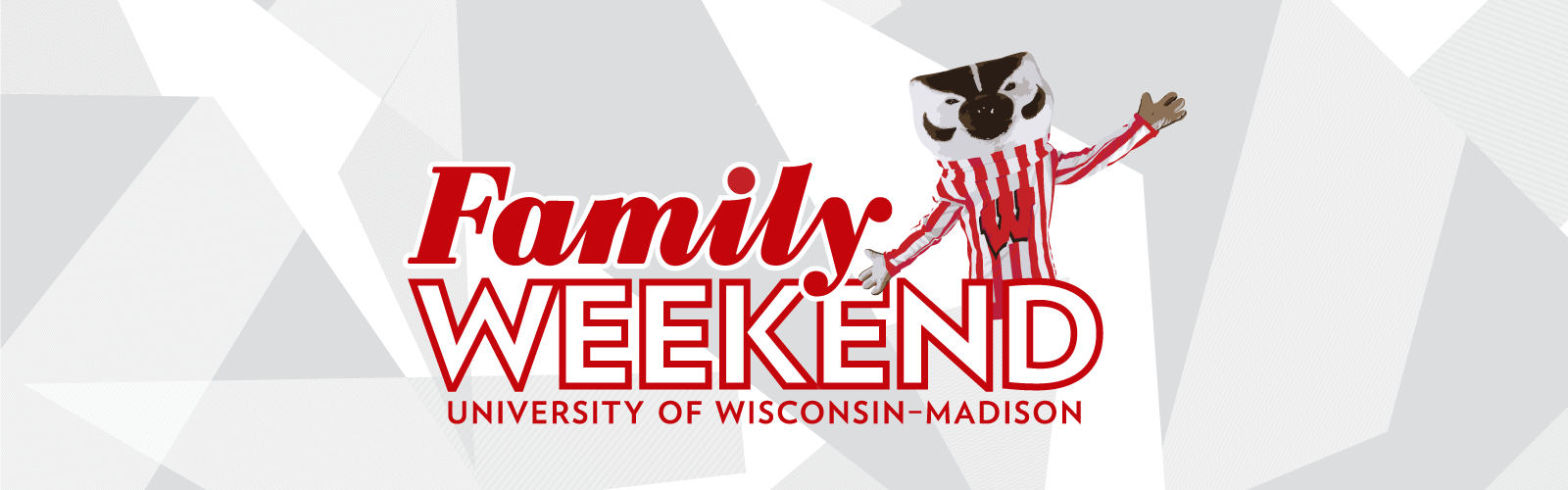 Family Weekend logo with Bucky Badger