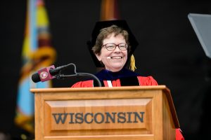 Chancellor Rebecca Blank addresses graduates and their families during UW-Madison's spring commencement ceremony at Camp Randall Stadium in 2016.