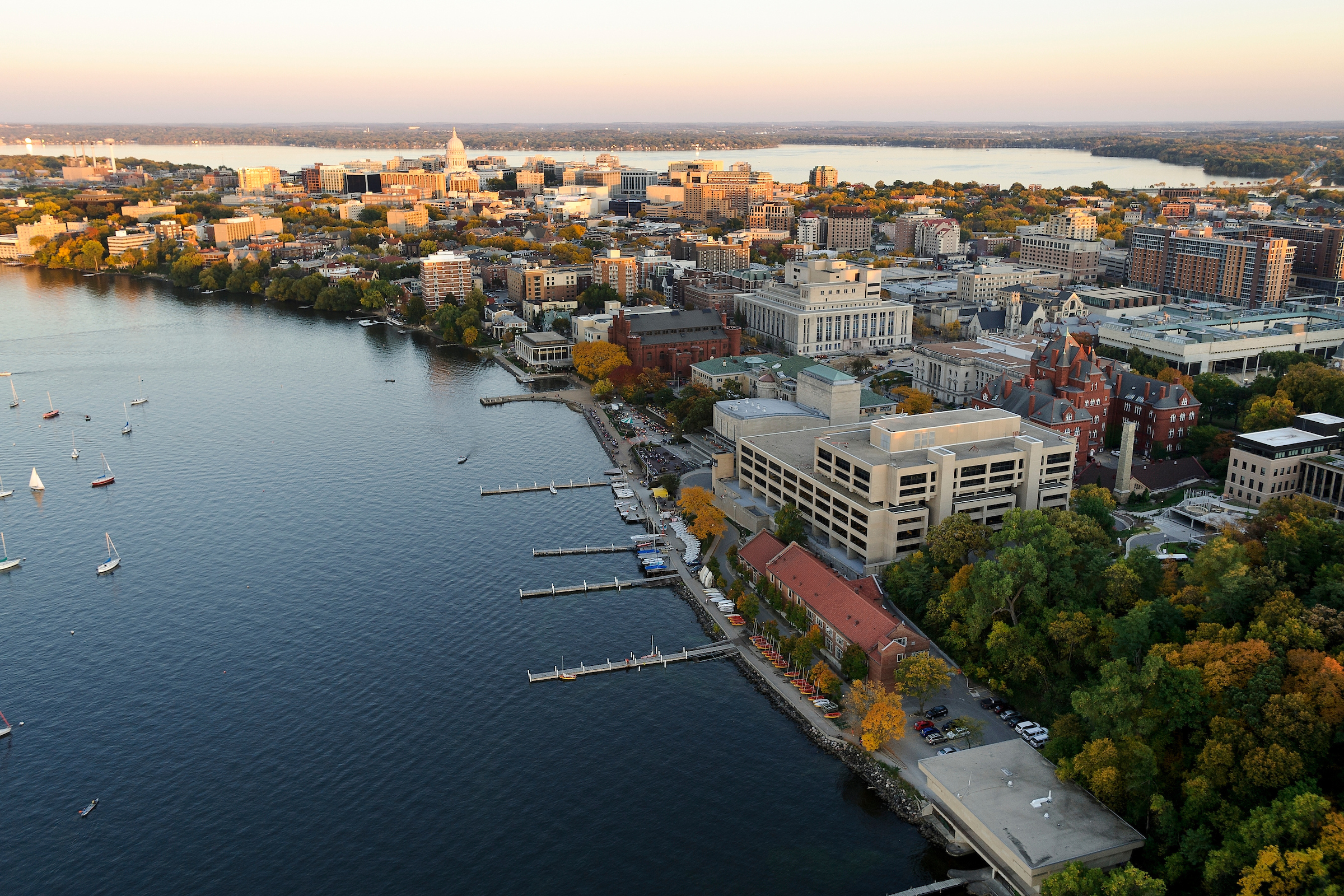 The Lake Mendota shoreline is pictured in an aerial view of the UW-Madison campus.