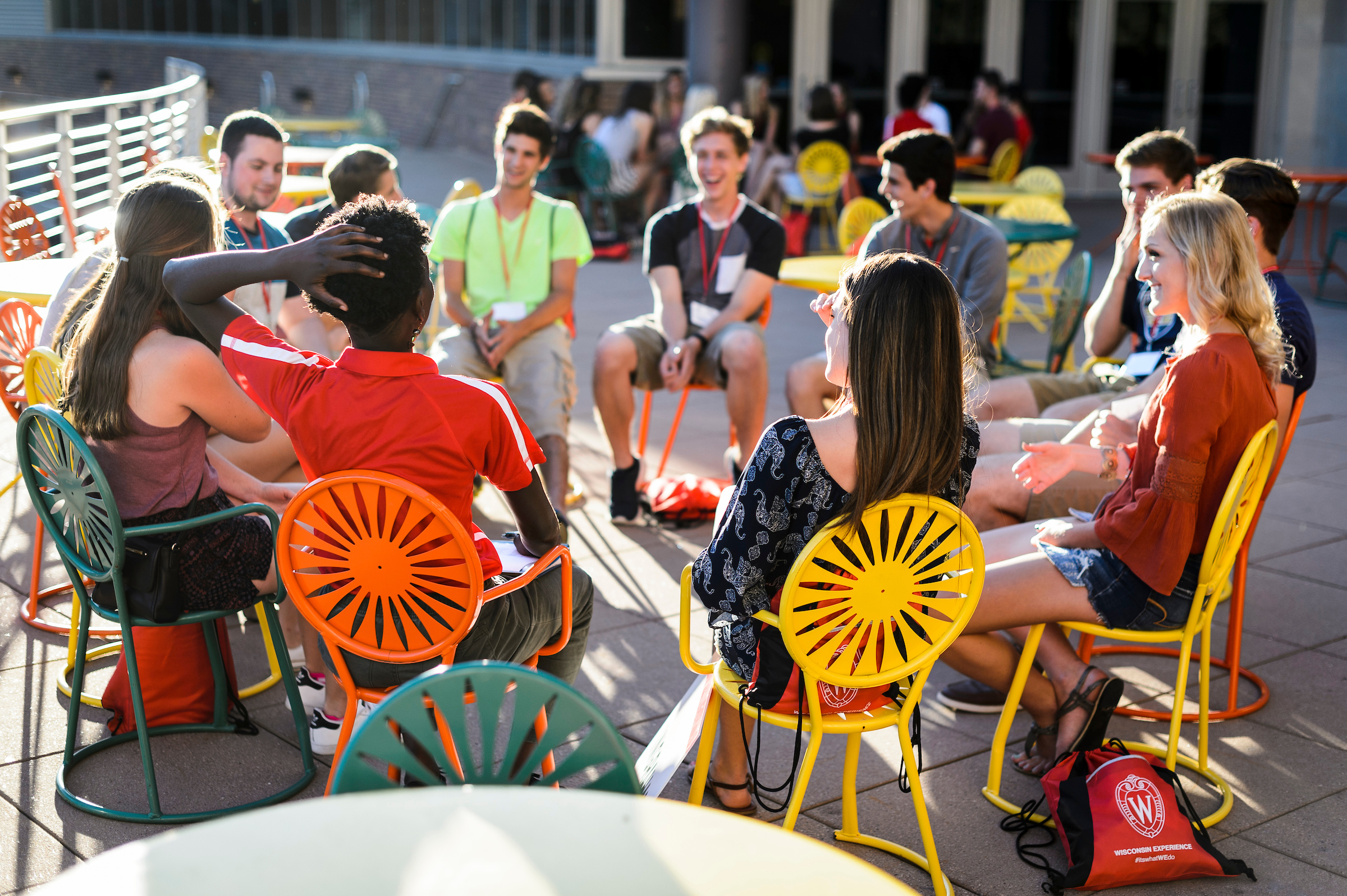 New students sit outside of Union South.