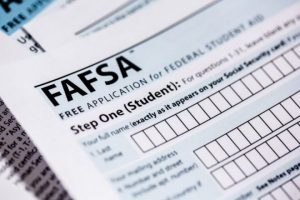 Close-up of a FAFSA application