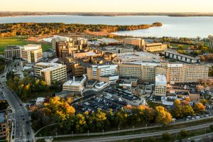 The UW-Madison campus, including the UW Hospitals and Clinics, are pictured in an aerial taken from a helicopter.