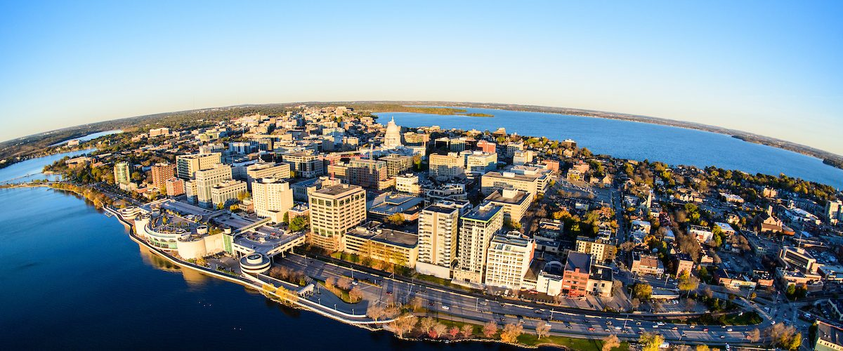 Lake Mendota and Lake Monona, along with the downtown Madison Isthmus and Wisconsin State Capitol, are pictured in an early morning aerial taken from a helicopter.