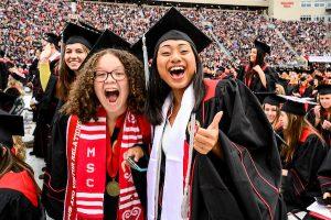 UW graduates celebrate at spring commencement at Camp Randall Stadium.