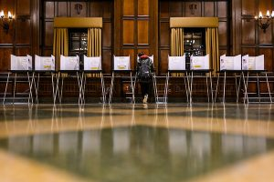 A student casts a midterm election vote at Tripp Commons in the Memorial Union.