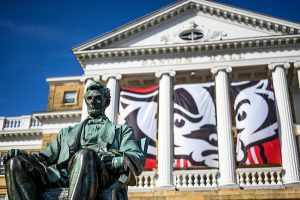 A statue of Abraham Lincoln sits in front of Bascom Hall.