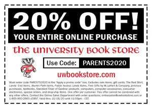 University Book Store 20 percent off coupon